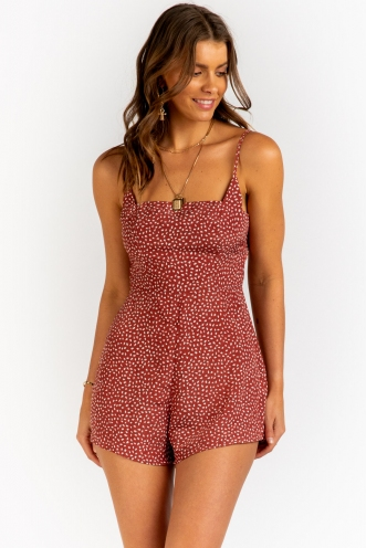 The Bondi Playsuit- Peach Print