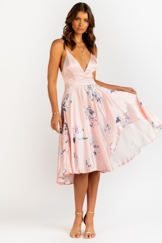Risk It Dress - Peach Floral