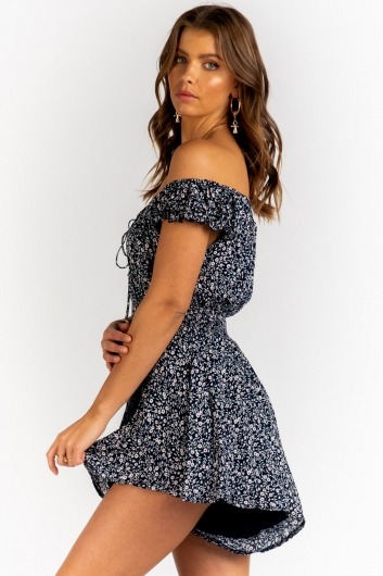 Emma Louise Playsuit - Navy Floral