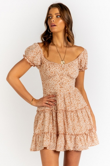Eden Dress - White/Brown Print