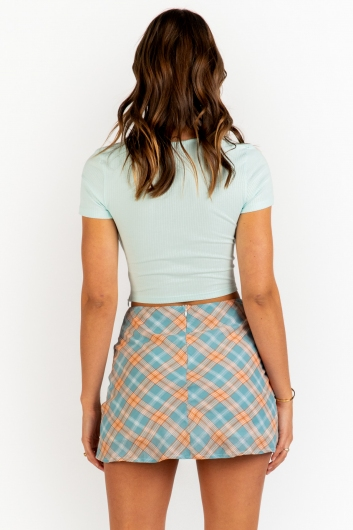 Britney Skirt - Mint Check Print