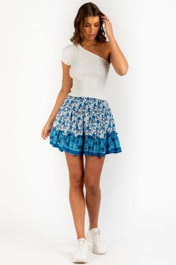 Leticia Skirt - Mix Blue/White
