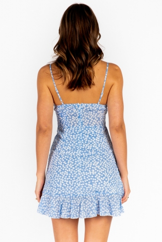 Applebloom Dress - Mix Blue White Print