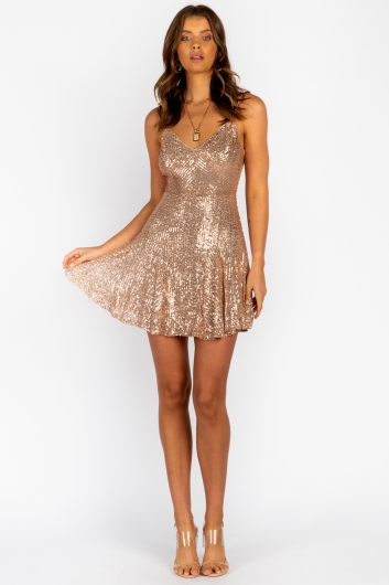 Heart Feel Dress-Gold Sequin