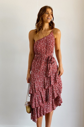 Foolin Myself Dress - Rust Floral