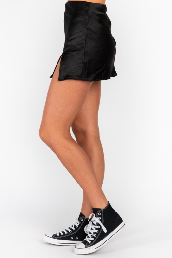 Britney Skirt - Black Silky