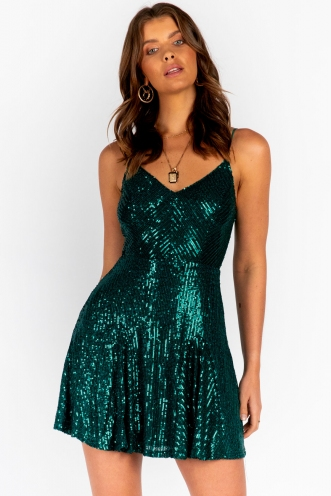 Heart Feel Dress Green Sequin