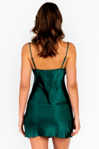 Dominica Dress Green Silk