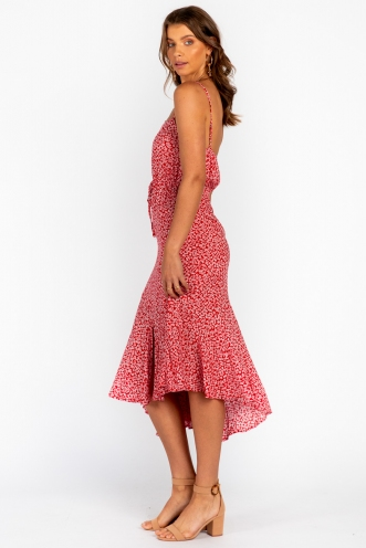 Seaside Maxi Dress Red Floral