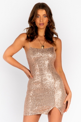 Hara Dress Gold Sequin