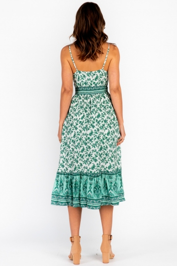 Camilia Maxi Dress Green Print