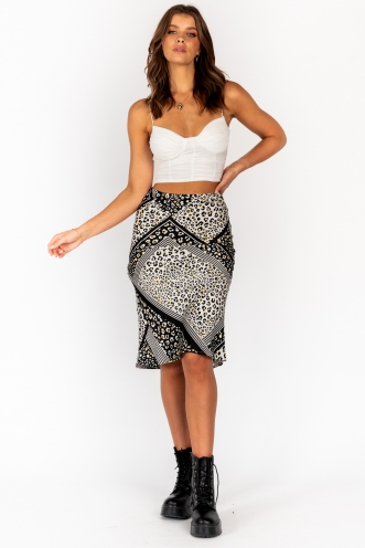 Aleesha Skirt Black White Print