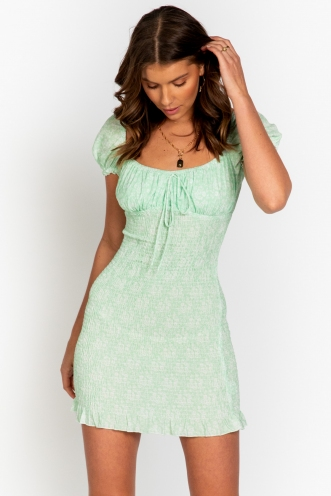 Honey Drip Dress Mint Floral