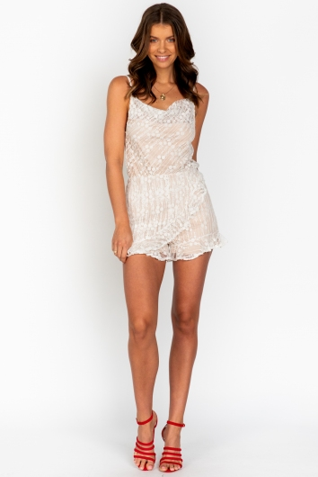Hey Now Playsuit - White/Beige