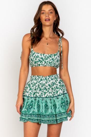 Trouble Top - Green Print