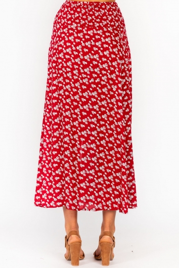 Stagger Skirt Red Floral