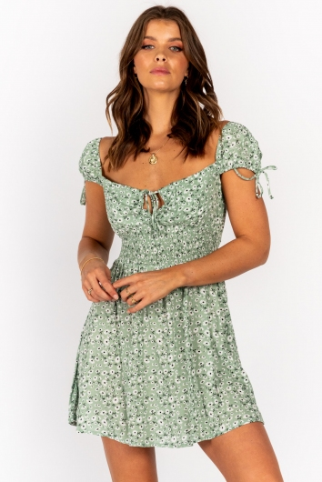 Sunday Sun Dress Green Floral
