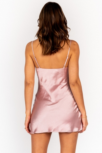Empty Glasses Dress - Silk Pink