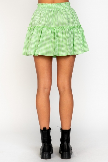 Trouble Skirt Green Check