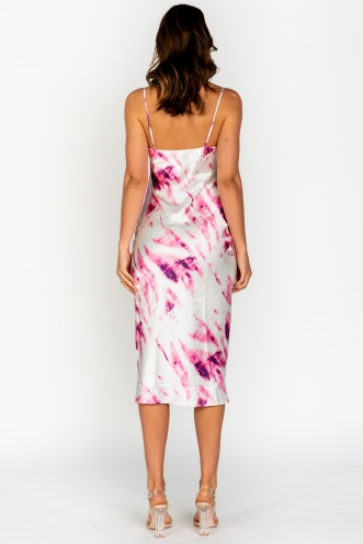 Ellen Dress Pink/White Print Silk