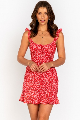 Bad Idea Dress Red Floral