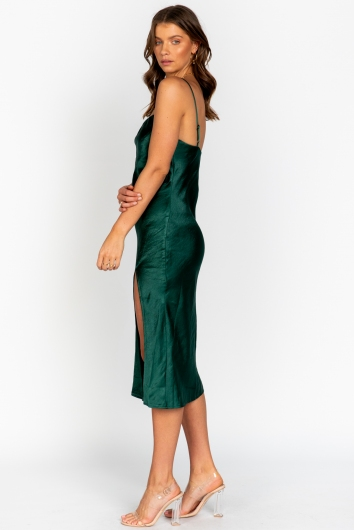 Ellen Dress Green Silk
