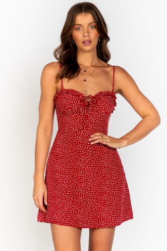 Live For Now Dress Red Print