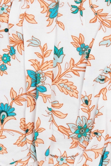 Trouble Top Peach/Blue Print