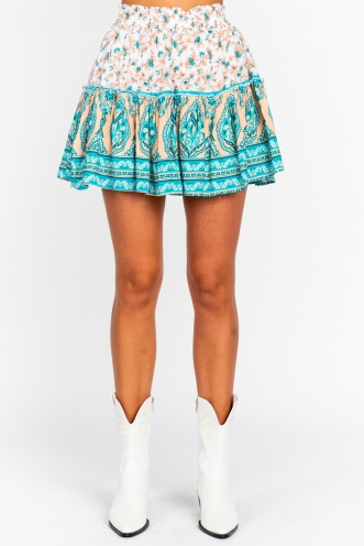 Trouble Skirt Peach/Blue Print