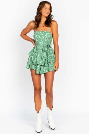 With Your Love Playsuit Green Floral