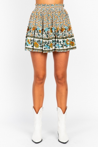 Trouble Skirt Orange/Blue Print