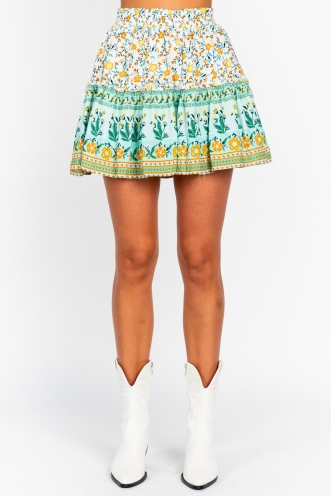 Trouble Skirt White/Mint Print