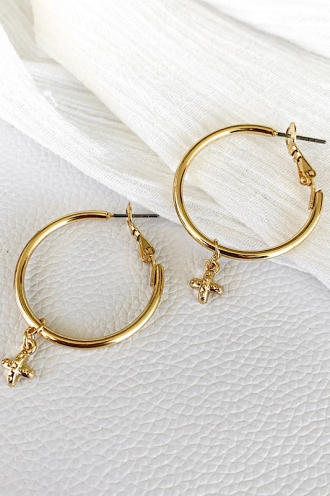 Cross Charm Hoops Gold