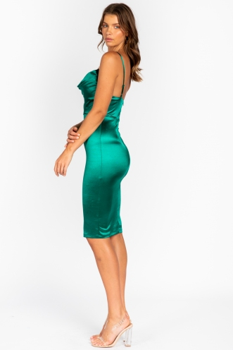 Clarice Dress - Green Silky