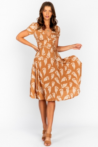 Harmony Hall Dress - Tan Print