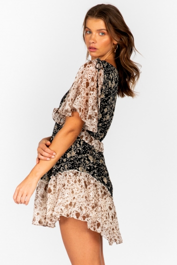 Carlito Dress - Black/Beige Print