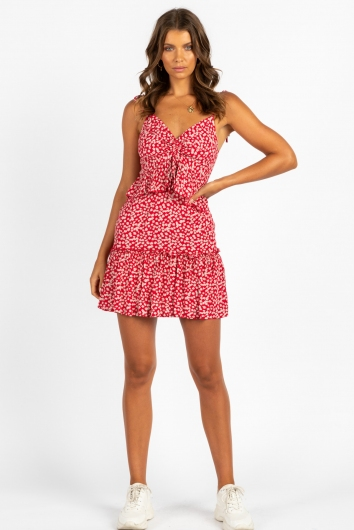 Make A Move Dress Red Floral