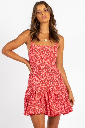 Bethany Dress Red Floral