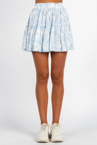 Trouble Skirt Light Blue Print