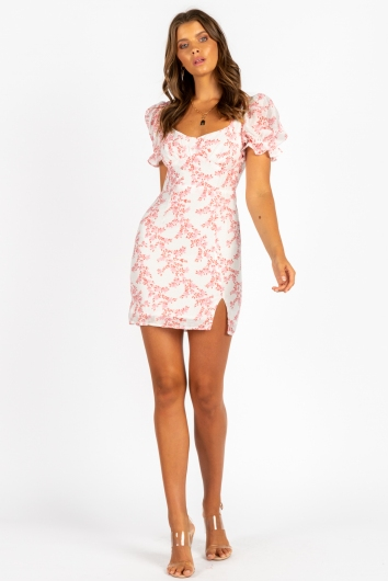 Buzz Dress White/Pink Floral