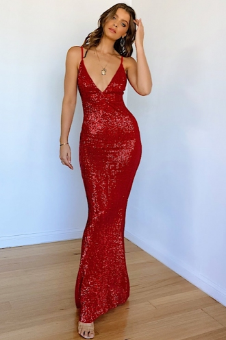 It Feels So Good Dress - Red Sequin