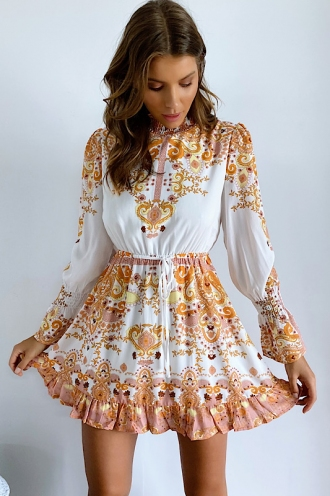 Infinity Dress White/Orange Print