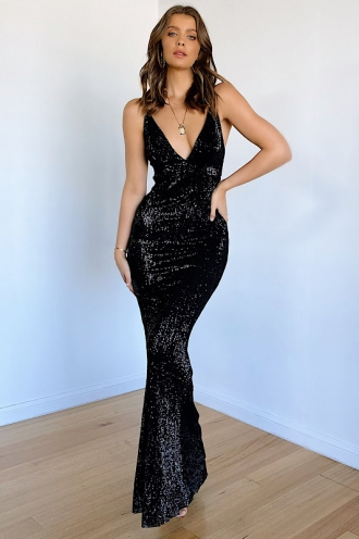 It Feels So Good Dress - Black Sequin