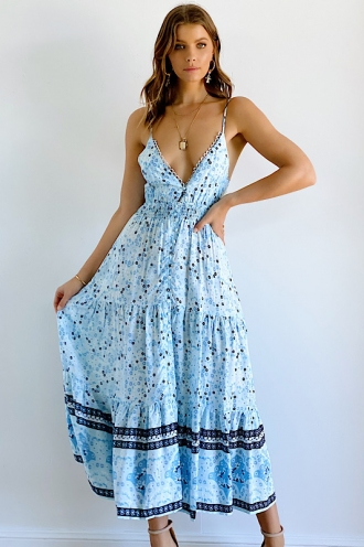 Summer Calling Maxi Dress- Light Blue Print