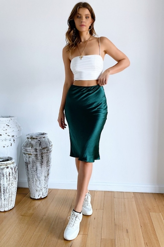Aleesha Skirt Green Silky