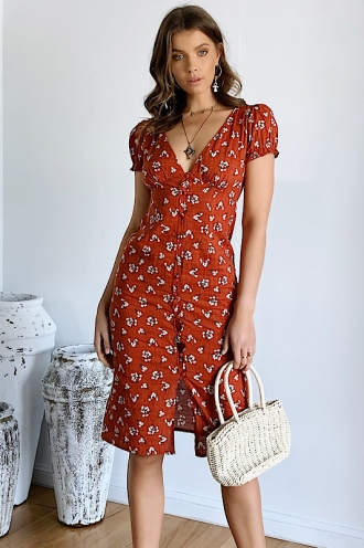 Free At Last Dress - Orange Floral