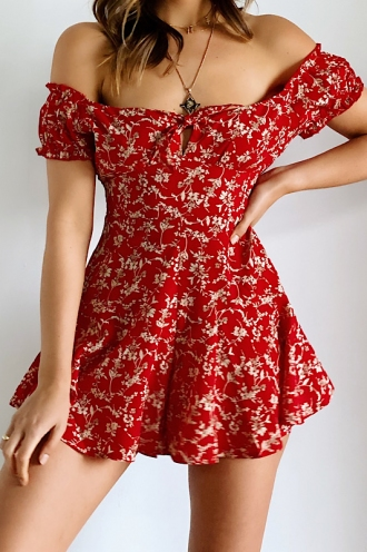 Maya Playsuit-Red Print