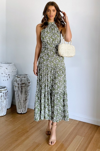 Sekea Maxi Dress Kaki Print