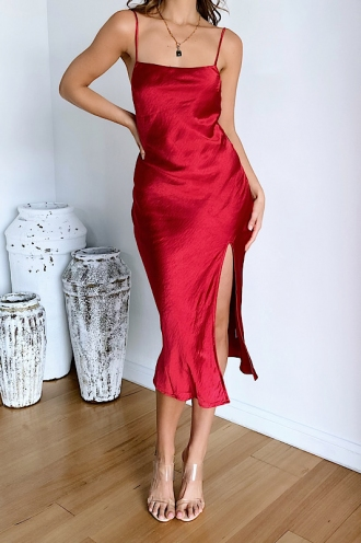 Ellen Dress Maroon Silk