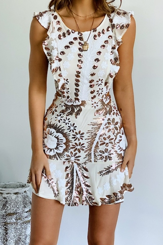 Someday, Someway Dress - White/Gold